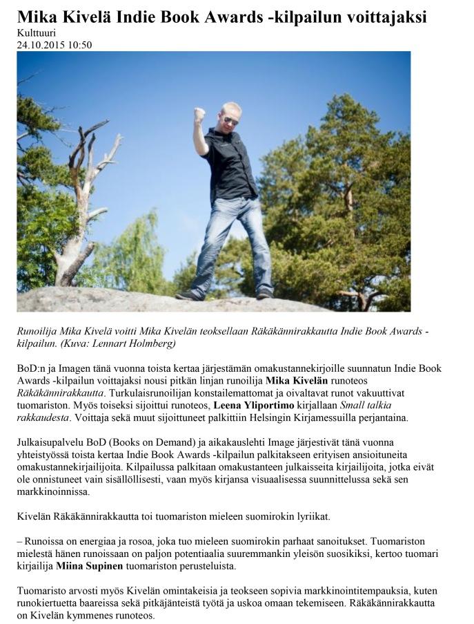 Mika Kivelä Indie Book Awards